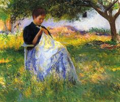 Edmund C. Tarbell (American 1862–1938) [Impressionism, Portrait, The Ten] A Girl Sewing in an Orchard (1891) Private Collection. – The Athenaeum