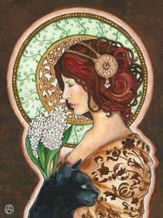 Ideas Art Deco Woman Illustration Alphonse Mucha For 2019 Art Nouveau Mucha, Alphonse Mucha Art, Art Nouveau Poster, Belle Epoque, Art And Illustration, Fantasy Kunst, Fantasy Art, Illustrator, Jugendstil Design