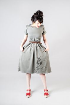 Dark grey Tee shirt dress with screen printed by Julbyjuliagasin, $78.00