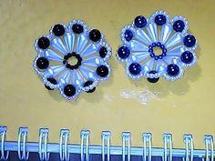 Flor de pérolas ñ 02/Usei pérolas ñ 05 Verde e ñ 10 amarelo .e nylon 35/e agulha. Essa flor é só uma ideia! pode ser feita de qualquer cor e tamanho e numera...