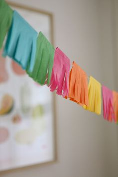 mini Cinco de Mayo bright fringy tissue paper party garland - 10 feet