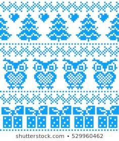 New Year's Christmas pattern pixel, card - scandynavian Norwegian sweater style Fair Isle Knitting Patterns, Chunky Knitting Patterns, Knitting Designs, Baby Knitting, Cross Stitch Bird, Cross Stitch Designs, Cross Stitch Patterns, Fair Isle Chart, Groomsmen