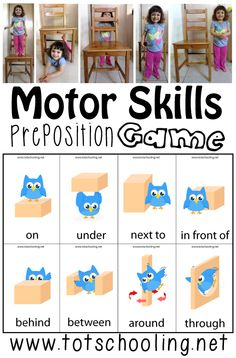 Motor Skills Preposition Game with Free Printable from Totschooling  - repinned by @PediaStaff – Please Visit ht.ly/63sNtfor all our ped therapy, school & special ed pins