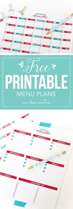 Organize your meal planning schedule with these Free Printable Menu Plans!