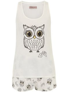 Cream owl shorts pj set - View All New In   - What's New