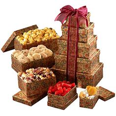 Broadway Basketeers Celebration Gift Tower: A unique gift for that special someone. 5 gift boxes open to reveal an assortment of gourmet goodies including gourmet caramel popcorn, chocolate chip cappuccino cookies, cranberry health mix and much more! Gourmet Gifts, Gourmet Recipes, Gourmet Foods, Food Gifts, Bridal Shower Snacks, Kosher Gift Baskets, Family Gift Baskets, Best Candy, Candy Gifts
