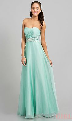 Strapless Floor Length Dress at PromGirl.com A-Line