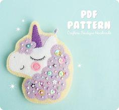Magical Unicorn Sugar Cookie Charm Pattern. PDF Felt Sewing
