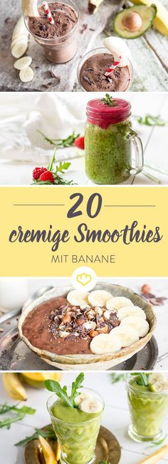 Mit Avocado, Spinat oder Himbeeren - Banane wird hier 20 Mal mit anderen leckeren Zutaten gemixt und kommt als herrlich cremiger Smoothie in dein Glas.