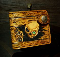 Hand-tooled  leather wallet wood-like design with a skull, carved wallet, tooled…                                                                                                                                                                                 More