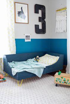 30 Beautiful Picture of Diy Toddler Bed . Diy Toddler Bed Modern Toddler Bed Diy A Beautiful Mess Toddler Bed Frame, Diy Toddler Bed, Toddler Bed Mattress, Toddler Rooms, Toddler Bedding Boy, Kids Rooms, Girl Toddler, Room Kids, Boy Rooms