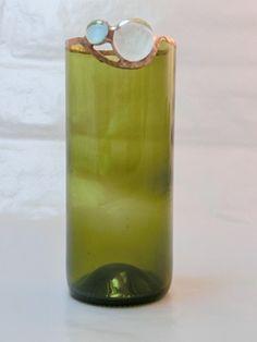 Vase/Teelichthalter aus Flasche mit Nuggets