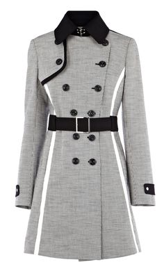 Karen Millen colourblock texture mix coat.