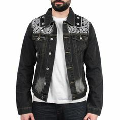 Savage Couture - Bandana Denim Jacket Noir
