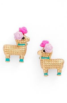 Life's a party, wear a piñata. These gold plated, rose wearing studs are not only playful but statement making.