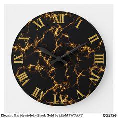 Elegant Marble style3 - Black Gold Large Clock