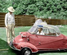 """Elvis Presley at home in Memphis in his three wheeled Messerschmitt bubble car"""" 1956..../ That's Elvis' Grandfather admiring the car : Jesse Presley, Vernon's Father."""