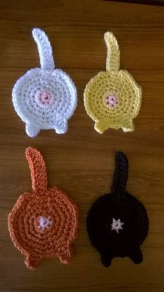 Not your granny's coasters-CAT BUTT COASTERS-with tutorial - CROCHET