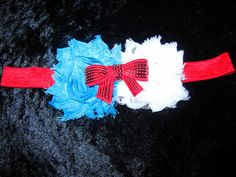 Dr Seuss Headband for Babies Girls Red Turquoise and White Dr Seuss Inspired Head Band Great for Tutus, Photos, Parties