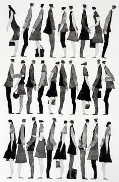 Fashion Illustration 行く手 (To the Future) - Tetsuo Aoki Sketches Of People, Drawing People, People Drawings, Illustration Design Graphique, Illustration Art, People Cutout, Davidson Galleries, Art Watercolor, Architecture People