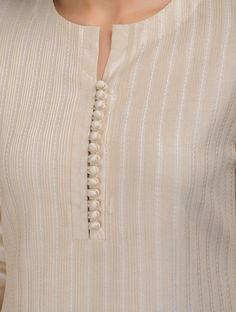 Beige Kantha Embroidered Pintuck Cotton Kurta