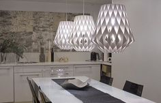 White Pilke pendants in the kitchen of our office in Helsinki. On the background you can spot our Tuohi wall elements, design Tapio Anttila. Nordic Lights, Helsinki, Wall Design, Finland, Showroom, Chandelier, Pendants, Ceiling Lights, Canning