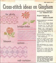 Vintage idea sheet for cross-stitch and chicken scratch embroidery.