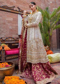Pakistani Bridal Jamawar Lehnga for Wedding Latest Designs – Nameera by Farooq Pakistani Fashion Party Wear, Pakistani Wedding Outfits, Pakistani Wedding Dresses, Pakistani Dress Design, Bridal Outfits, Indian Fashion, Bridal Gowns, Women's Fashion, Off White Wedding Dresses