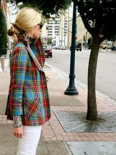 Plaid and leopard and white skinny jeans