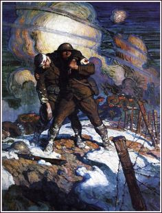 """""""The moral difference between a soldier and a civilian is that the soldier accepts personal responsibility for the safety of the body politic of which he is a member. The civilian does not.""""  (Robert Heinlein) N.C. Wyeth"""