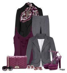 """Friday @ The Office In Plum/Grey/Black"" by marion-fashionista-diva-miller ❤ liked on Polyvore featuring Burberry, White House Black Market, Gucci, Rebecca Minkoff, H&M, women's clothing, women, female, woman and misses"