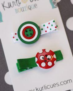 Christmas Button Hair Clip   Ready to Ship  by KurliCuesBoutique