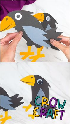 This easy paper crow is a fun Halloween craft for kids to make this fall! Download our free printable template and make with preschool, prek and kindergarten children at home or in the classroom! Halloween Crafts For Kids To Make, Halloween Crafts For Toddlers, Animal Crafts For Kids, Craft Activities For Kids, Toddler Crafts, Diy Crafts For Kids, Halloween Diy, Halloween Cakes, Handmade Christmas Decorations