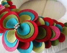 Fabric Wreath Felt Handmade Door Decoration PolkaDots di ItzFitz