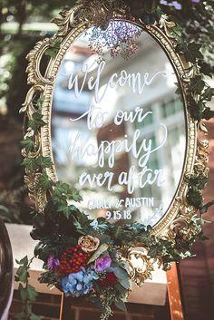 Elegant Fall Wedding welcome sign with calligraphy on a mirror - Aileen Elizabeth Photography Magical Wedding, Diy Wedding, Fall Wedding, Wedding Flowers, Dream Wedding, Vintage Fairytale Wedding, Rustic Wedding, Vintage Wedding Signs, Fairytale Weddings