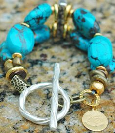 Essential Turquoise, Gold and Silver Statement Bracelet