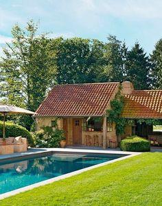 Belgian pool house by Porte Bonheur Swimming Pools Backyard, Swimming Pool Designs, Garden Pool, Fun Backyard, Dream Pools, Gaudi, Pool Houses, My Dream Home, Outdoor Gardens
