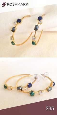 🦋Last Chance🦋BOTKIER 💎Semi precious gems earrng 🦋LAST CHANCE-gone after this weekend🦋 BOTKIER NEW YORK 💎 Semi precious gemstones on gold hoop earrings. Botkier New York Jewelry Earrings