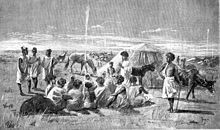 """Moorish tribes meet to trade gum arabic at Bakel on the Senegal River, 1890 (illustration from """"Côte occidentale d'Afrique du Colonel Frey"""", pl. Gum Arabic, Lest We Forget, Conflict Resolution, Moorish, The Incredibles, War, French, Illustration, Meet"""