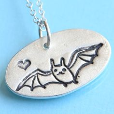 BAT LOVE necklace with bat and HEART by ChocolateAndSteel on Etsy