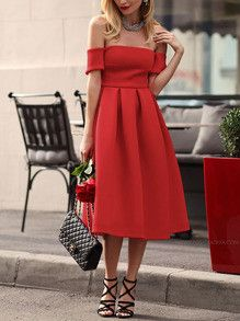 DESCRIPTION Fabric :Fabric is very stretchy Season :Fall Type :Skater Pattern Type :Plain Sleeve Length :Short Sleeve Color :Red Dresses Length :Long Style :Sexy Material :Polyester Neckline :Off the