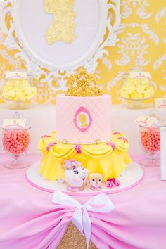 Belle Themed Birthday Cake from a Princess Belle Beauty and the Beast Birthday Party on Kara's Party Ideas | KarasPartyIdeas.com (19)