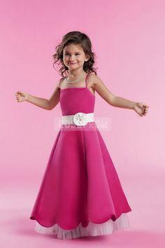 Junior Sash Flower Hot Pink Princess Bridesmaid Dress