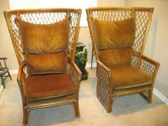 VINTAGE MID CENTURY Rattan / Bamboo HighBack by ChinoiserieHome, $850.00