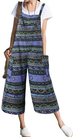 Ethnic Bohemian Strap Pockets Loose Jumpsuits #fashion #style