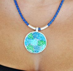Turquise  mint green and blue  polymer clay pendant by NuritNaor, $38.00