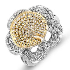 ($639.00) 14k White & Yellow Gold Round Diamond Ladies Flower Cocktail Ring 1 1/4 CT (1.25 cttw, G-H-I Color, SI-I Clarity)   From DazzlingRock Collection