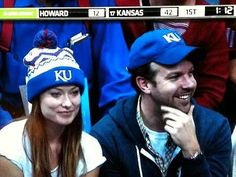 Jason Sudeikis and Olivia Wilde in KU gear. <3