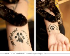 "Pet Memorial Tattoo Ideas | Leeloo's paw print (actual size) with the Gaelic words ""My Friend, My ..."