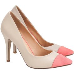 Spliced Toe Pump (€53) ❤ liked on Polyvore featuring shoes, pumps, heels, zapatos, pink, pointy high heel pumps, high heel shoes, pointed pumps, high heel pumps and pink high heel shoes
